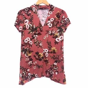 A.N.A Pink Red Floral Choker Collared Cutout Top